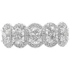 Roman Malakov Oval Cut Diamond Halo Five-Stone Ring