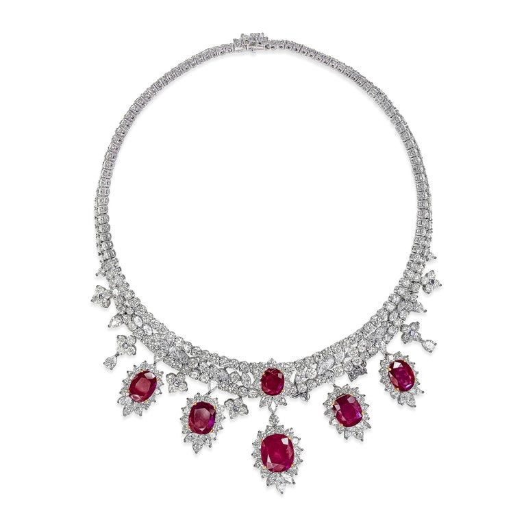 Contemporary Roman Malakov, Oval Cut Ruby and Diamond Necklace in 18k White Gold For Sale