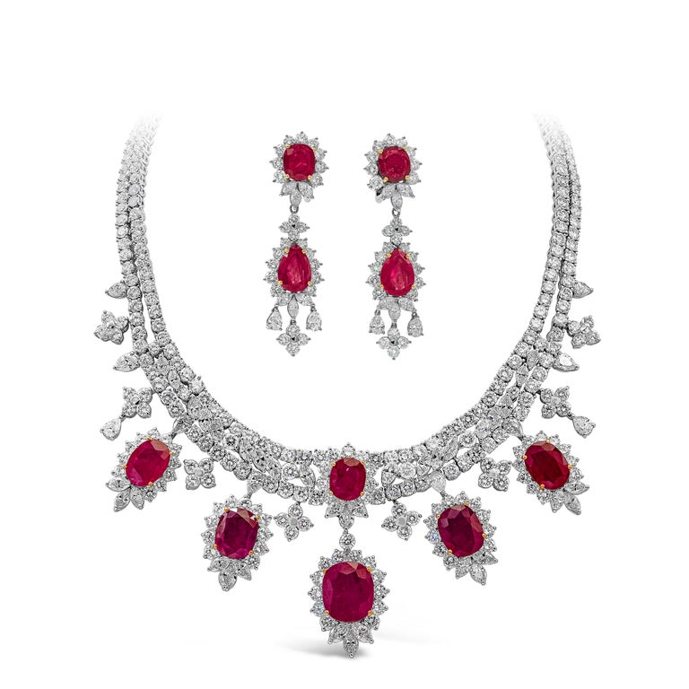 Women's or Men's Roman Malakov, Oval Cut Ruby and Diamond Necklace in 18k White Gold For Sale