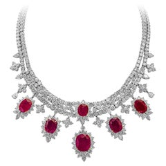 Roman Malakov, Oval Cut Ruby and Diamond Necklace in 18k White Gold