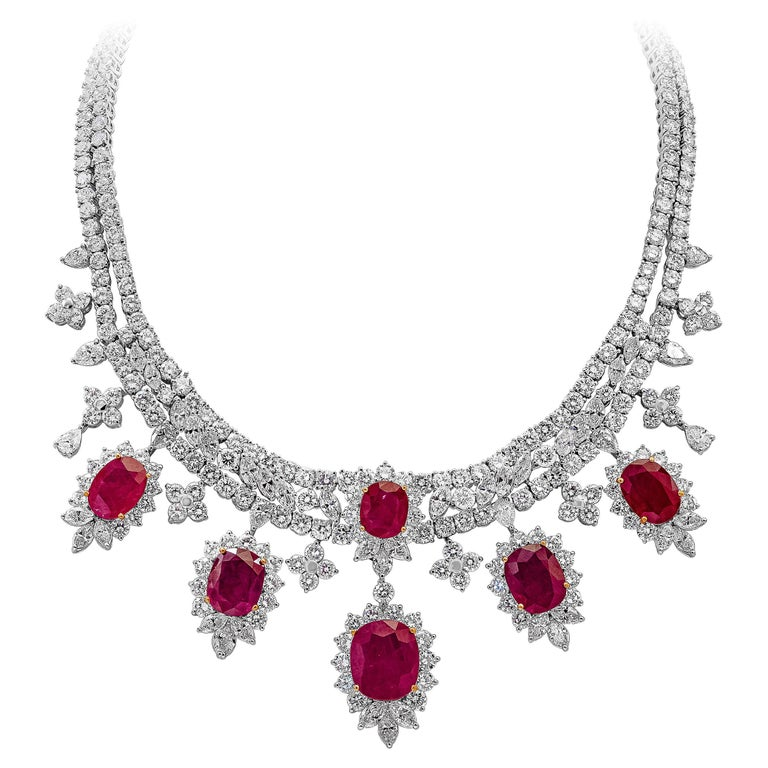 Roman Malakov, Oval Cut Ruby and Diamond Necklace in 18k White Gold For Sale