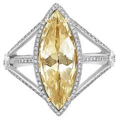 Roman Malakov Rose Cut Marquise Yellowish Diamond Halo Ring