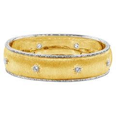 Roman Malakov Round Diamond Brushed Yellow Gold Bangle Bracelet