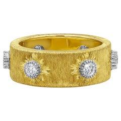 Roman Malakov Round Diamond Brushed Yellow Gold Fashion Ring