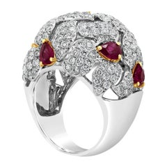Roman Malakov Ruby and Diamond Cocktail Dome Fashion Ring