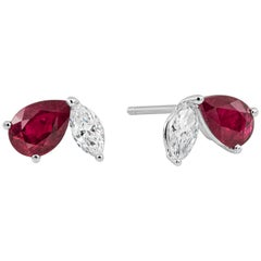 Roman Malakov Ruby and Diamond Stud Earrings