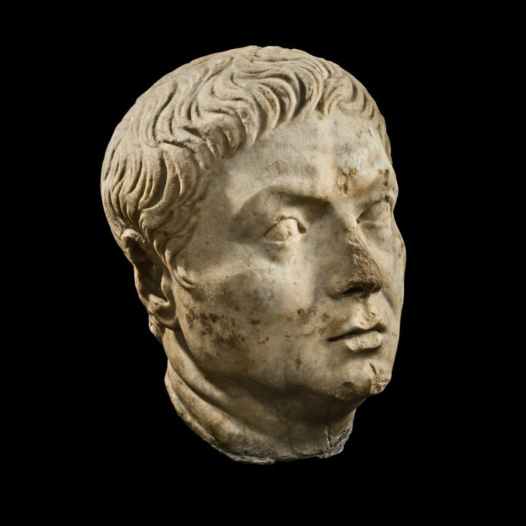 Classical Roman Roman Marble Head of a Magistrate, 1st Century A.D , Provenance For Sale