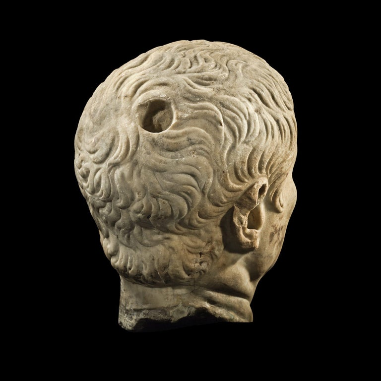 Italian Roman Marble Head of a Magistrate, 1st Century A.D , Provenance For Sale
