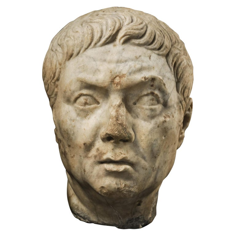 Roman Marble Head of a Magistrate, 1st Century A.D , Provenance For Sale