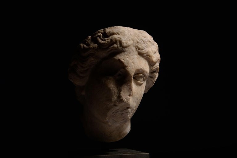Classical Roman Roman Marble Head of Athena For Sale