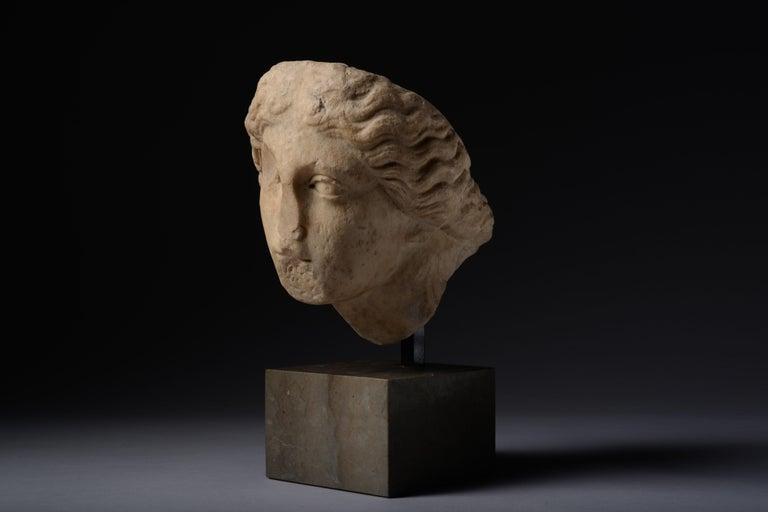 European Roman Marble Head of Athena For Sale