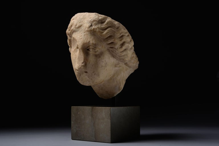 Roman Marble Head of Athena For Sale 3