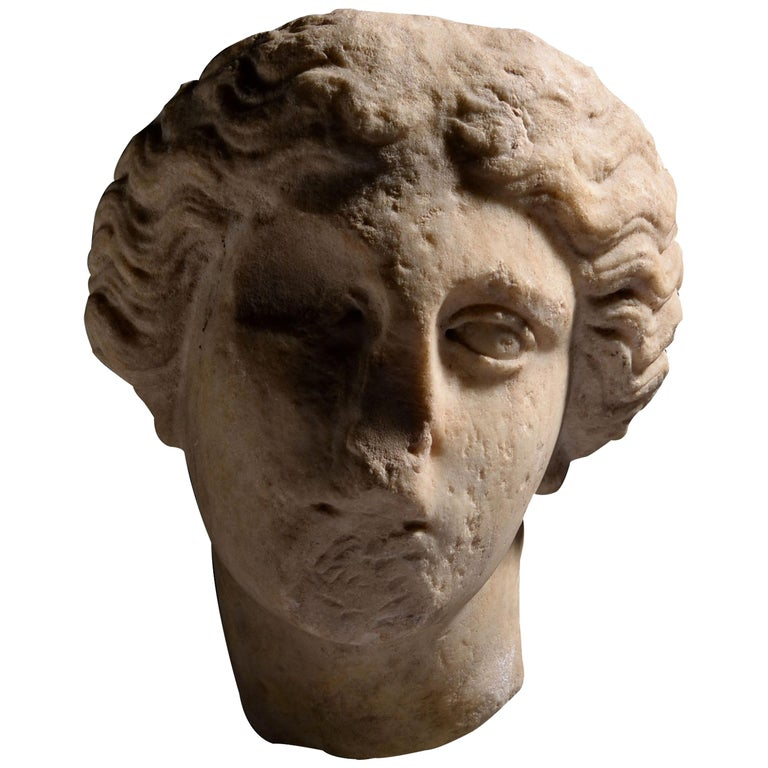 Roman Marble Head of Athena For Sale