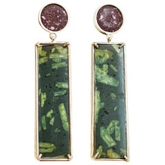 Roman Marble 'Red Porphyry and Green Porphyry' and Sterling Silver Earrings