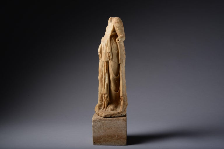 European Roman Marble Statue of a Draped Woman, 100 AD For Sale
