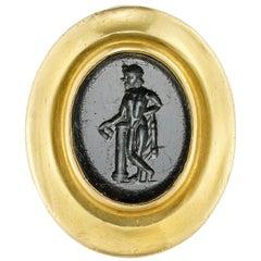 Roman Onyx Intaglio and Yellow Gold Ring