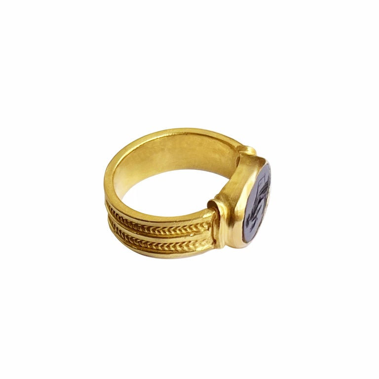 In this 18 Kt gold ring entirely handmade by our goldsmiths an authentic Roman intaglio (1st century AD) is set, depicting the goddess Fortuna with her classic attributes: rudder and Cornucopia. Fortuna (Latin: Fortūna, equivalent to the Greek