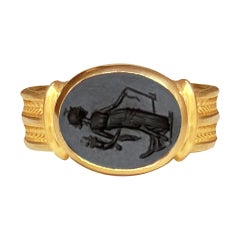 Roman Onyx Intaglio Gold Ring Depicting a Fortune with Horn of Plenty and Rudder