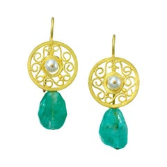 Roman Pearl, Emerald and 22 Karat Yellow Gold Earrings
