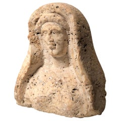 Roman Period, Levantine Travertine Veiled Female Bust