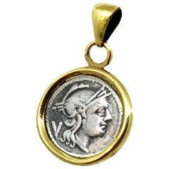 Roman Quinarius Coin 3dt Century BC 18 Kt Gold Pendant Depicting Goddess Rome