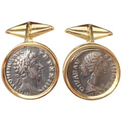 Roman Silver Coin '2nd cent.AD' 18 Kt Gold Cufflinks with Emperor and Empress