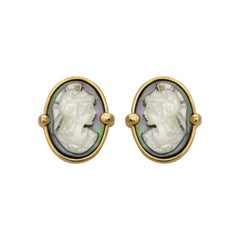 Roman Soldier Cameo Handcarved Cufflinks in 18 Karat Gold