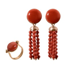 Italian Roman Style Turnable Ring and Earrings Natural Red Coral Red 18 Kt Gold