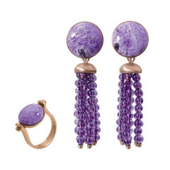 Roman Style Reversible Ring and Earrings Sugelite Amethyst Red 18 Karat Gold