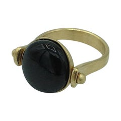 Roman Style Reversible Ring Black Jade Yellow 18 Karat Gold Made in Italy
