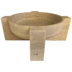 Roman Travertine Bowl on Stand