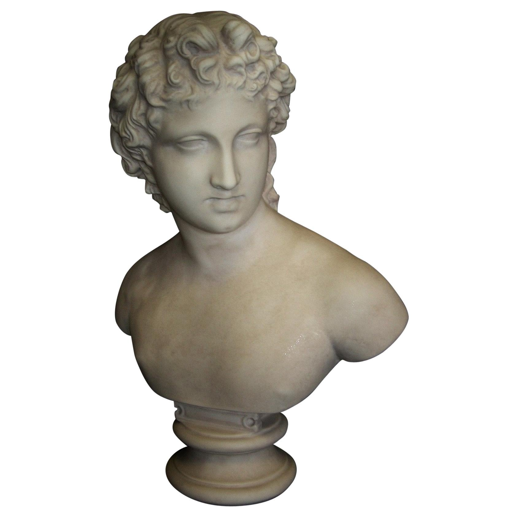 Roman Youth Marble Bust Sculpture, 20th Century