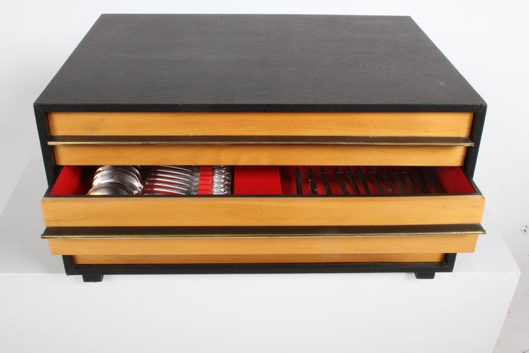 Plated Romance, Bijorn Windblad Rosenthal Silverplate Flatware for 12 with Case 79 Pcs For Sale