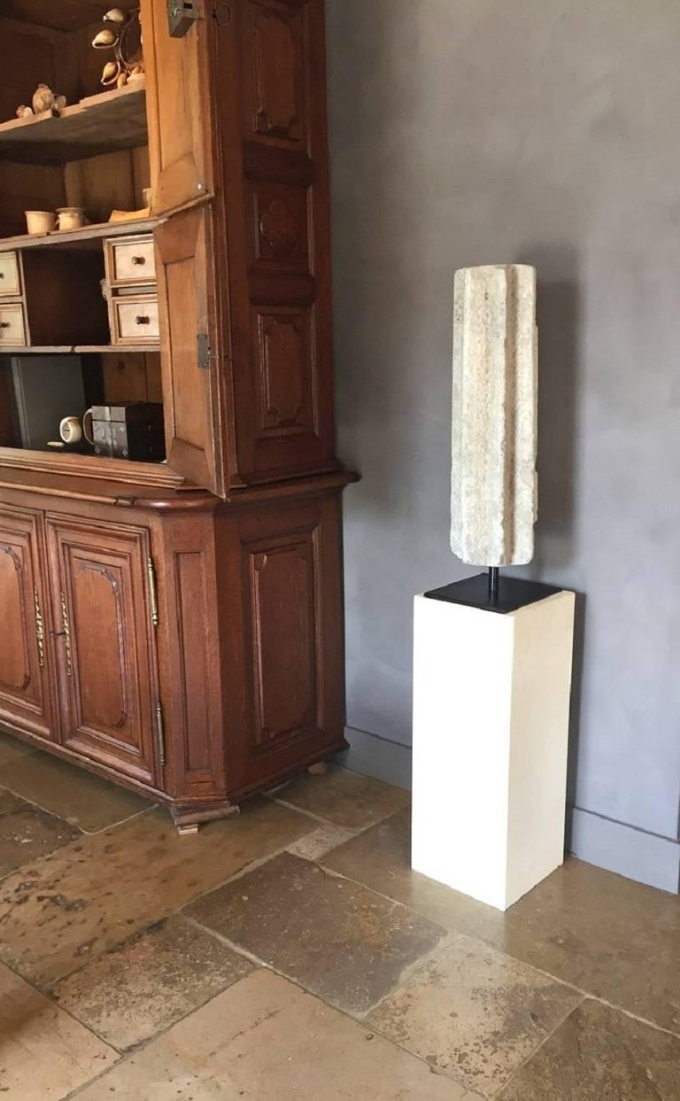 Medieval Romanesque Column Stone Architectural Fragment For Sale