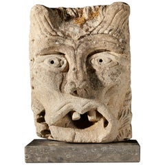 Romanesque Green Man Water Spout, Anglo Norman, circa 1150