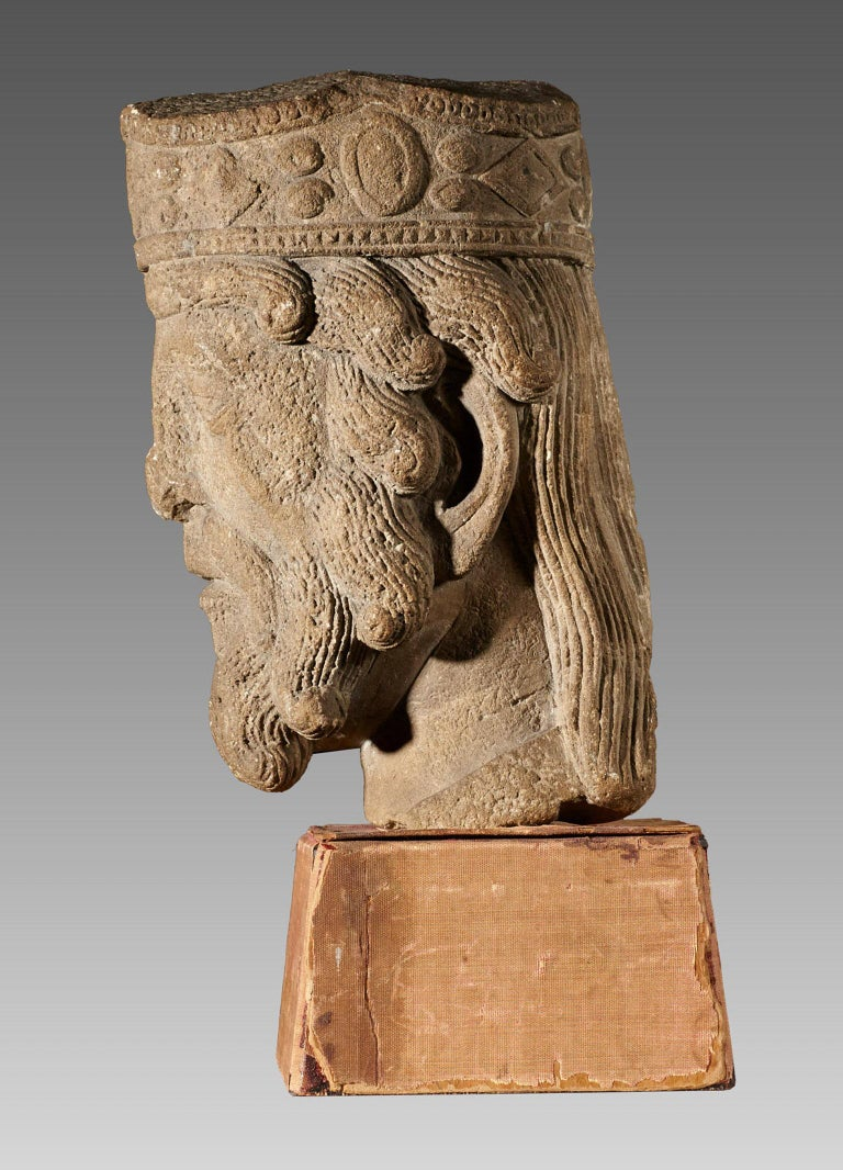 Romanesque Kings Head, French, circa 1100-1200 For Sale 1