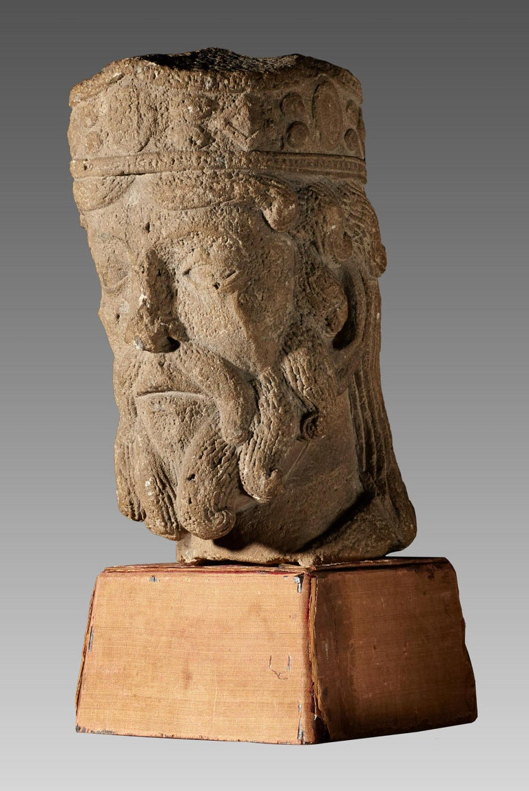 Romanesque Kings Head, French, circa 1100-1200 For Sale 2