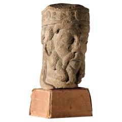 Romanesque Kings Head, French, circa 1100-1200