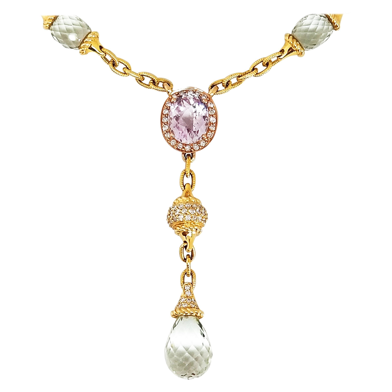 Romanitc Prasiolite Green Amethyst Briolette Rose Quartz Diamond Drop Necklace