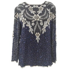 Romano blue sequins and beads shirt NWOT