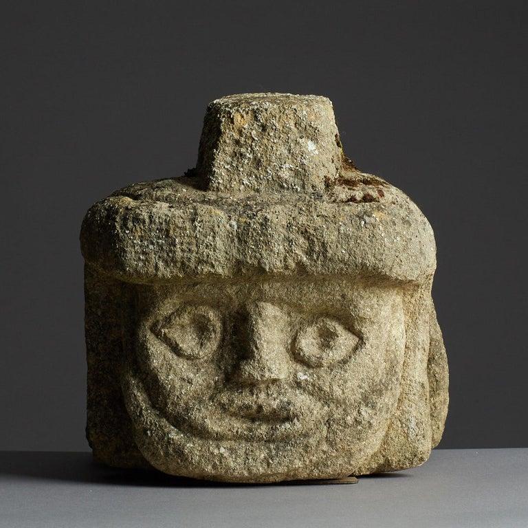 Archaistic Romano Celtic Stone Head of a Legionnaire, Anglo Roman, circa 2nd-3rd Century For Sale