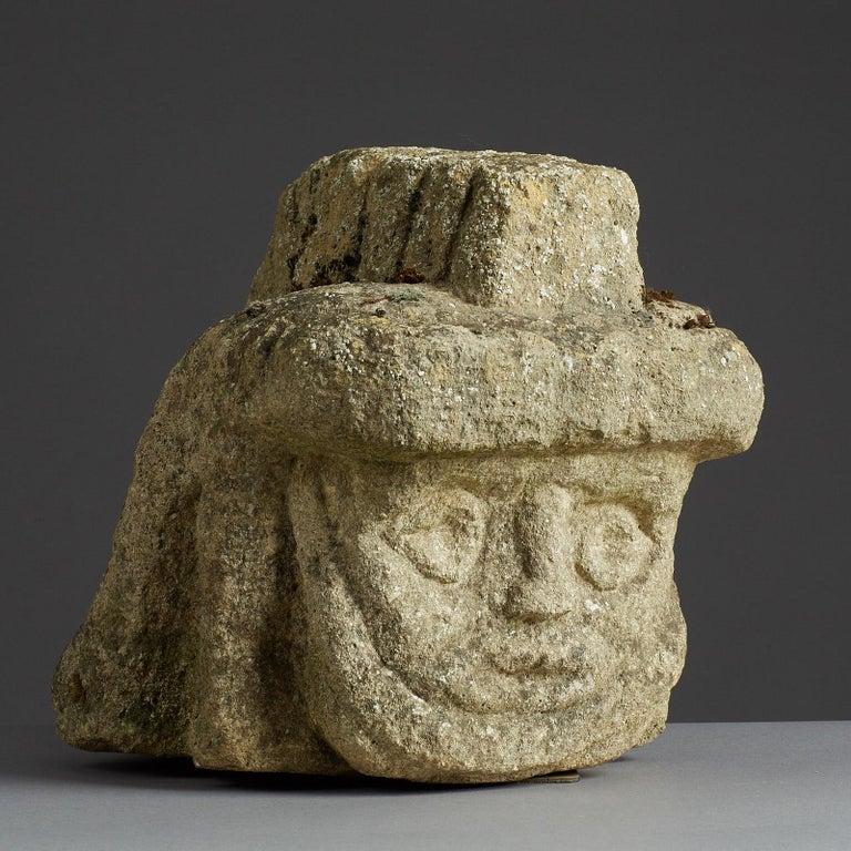 British Romano Celtic Stone Head of a Legionnaire, Anglo Roman, circa 2nd-3rd Century For Sale