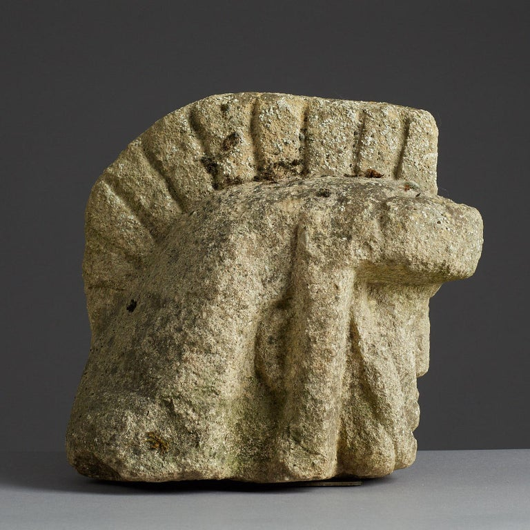 Carved Romano Celtic Stone Head of a Legionnaire, Anglo Roman, circa 2nd-3rd Century For Sale
