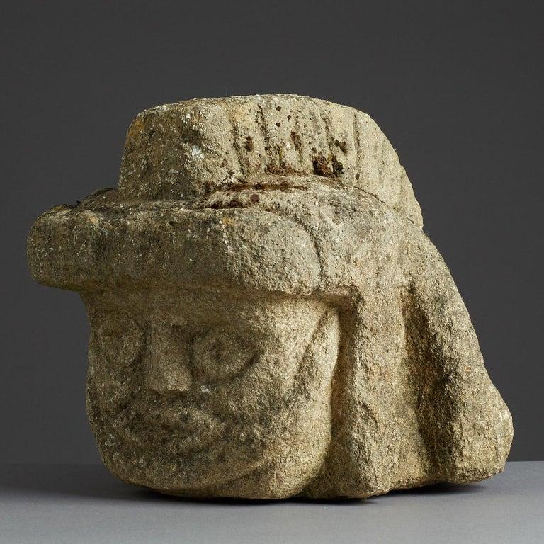 Limestone Romano Celtic Stone Head of a Legionnaire, Anglo Roman, circa 2nd-3rd Century For Sale