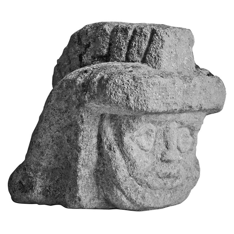 Romano Celtic Stone Head of a Legionnaire, Anglo Roman, circa 2nd-3rd Century For Sale