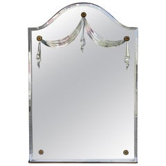 Romantic 1940s Etched Wall Mirror