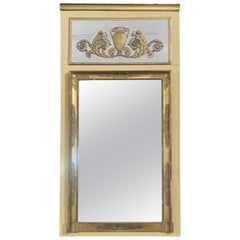 Romantic 19th Century Trumeau Mirror with Gold Gilt Frame
