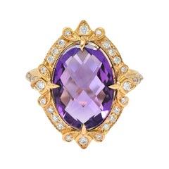 Romantic Amethyst Diamond 18 Karat Rose Gold Cocktail Ring