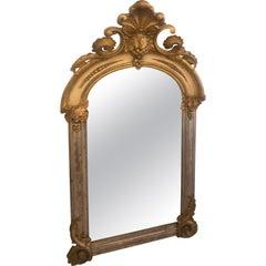 Romantic and Rare Belle Époque Parcel-Gilt and Lemon Silver Arched Wall Mirror