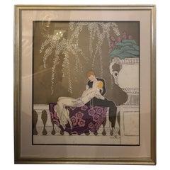 Romantic Art Nouveau Batik of Kissing Lovers